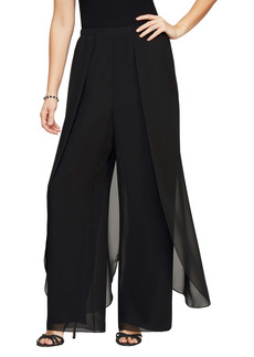 Alex Evenings Chiffon Overlay Straight Leg Pants