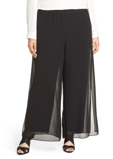 Alex Evenings Chiffon Overlay Wide Leg Pants (Plus Size)