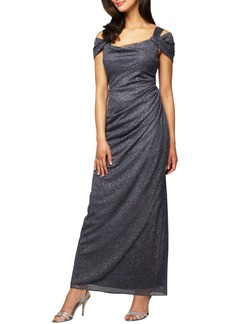 Alex Evenings Cold Shoulder Ruffle Glitter Gown (Regular & Petite)