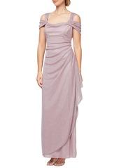 Alex Evenings Cold Shoulder Ruffle Glitter Gown (Regular & Petite)