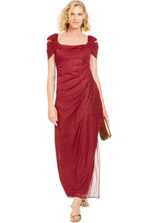 Alex Evenings Cold-Shoulder Draped Metallic Gown Regular & Petite Sizes