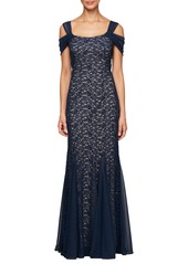 Alex Evenings Cold Shoulder Fit & Flare Evening Gown