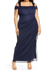 Alex Evenings Cold Shoulder Glitter Column Gown (Plus Size)