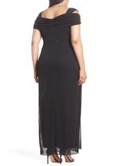 Alex Evenings Cold Shoulder Ruffle Gown (Plus Size)