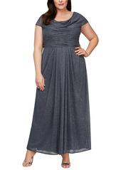 Alex Evenings Cowl Neck A-Line Gown (Plus Size)
