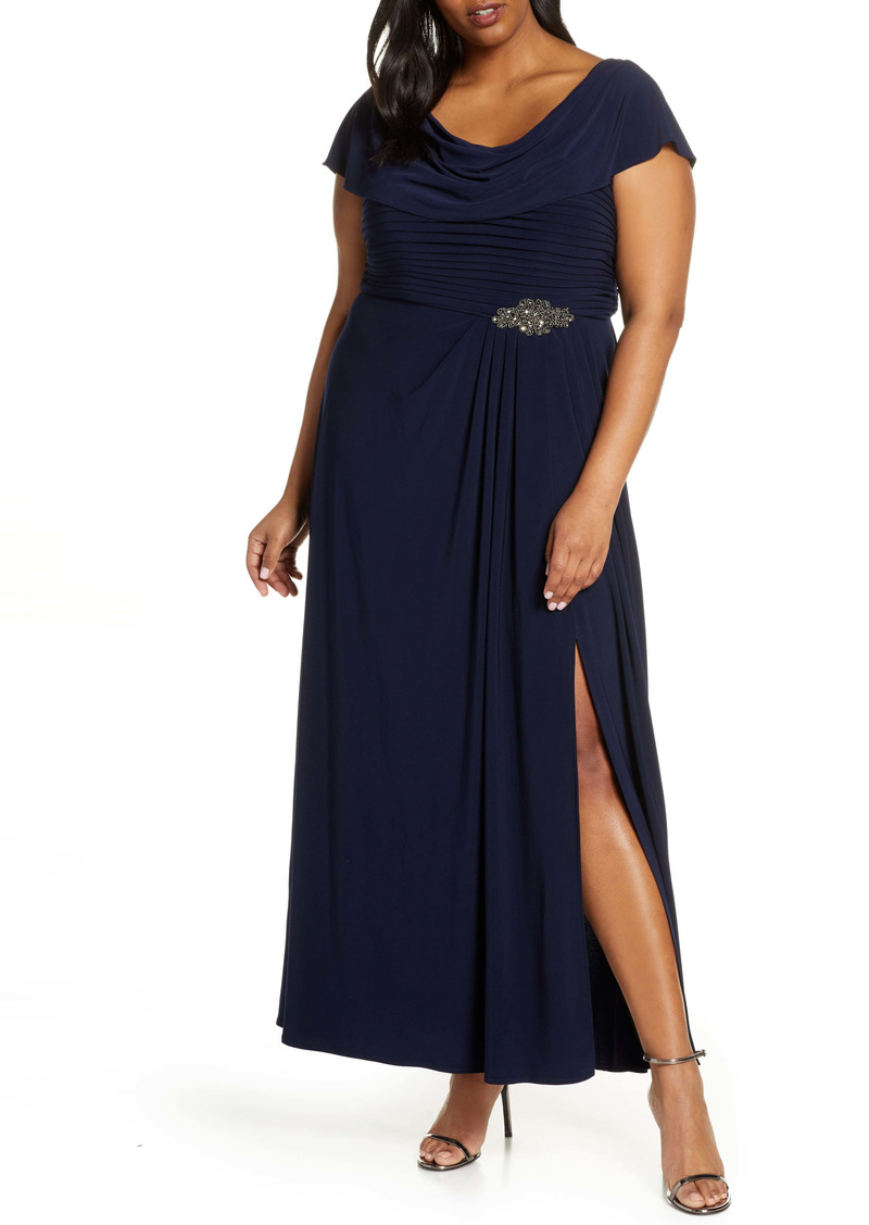 Alex Evenings Cowl Neck Beaded Waist Gown (Plus Size)