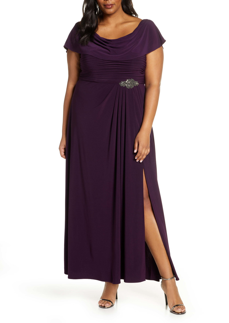 Alex Evenings Cowl Neck Beaded Waist Gown (Plus Size)