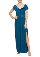 Alex Evenings Cowl Neck Beaded Waist Gown (Regular & Petite)