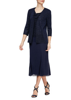 Alex Evenings Cowl Neck Shimmer Midi Dress with Jacket