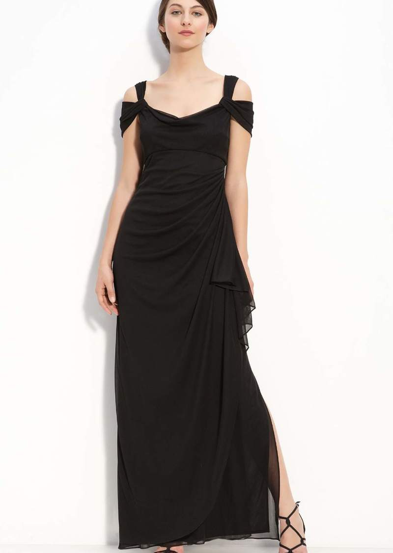 Alex Evenings Cold Shoulder Ruffle Gown