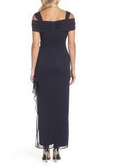 Alex Evenings Embellished Cold Shoulder Column Gown