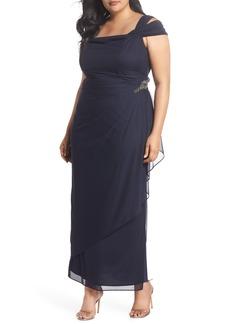 Alex Evenings Embellished Cold Shoulder Gown (Plus Size)