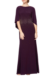 Alex Evenings Embellished Cowl Back A-Line Gown