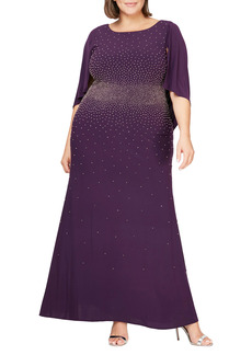 Alex Evenings Embellished Cowl Back A-Line Gown (Plus Size)