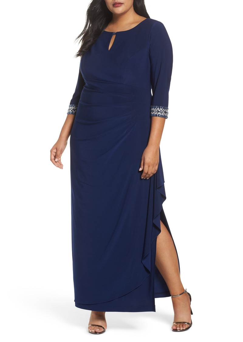Alex Evenings Embellished Faux Wrap Gown (Plus Size)