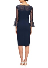 Alex Evenings Embellished Illusion Neck Sheath Dress (Regular & Petite)