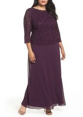 Alex Evenings Mock Two-Piece A-Line Gown (Plus Size)