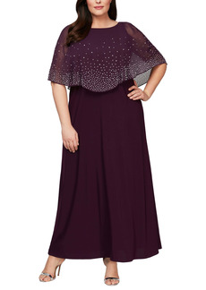 Alex Evenings Embellished Popover Gown (Plus Size)