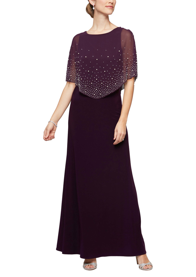 Alex Evenings Embellished Popover Gown (Regular & Petite)