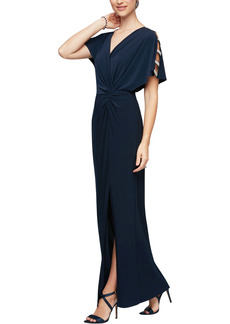Alex Evenings Embellished Sleeve Knot Front Gown