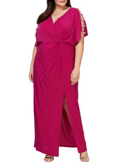 Alex Evenings Embellished Sleeve Knot Front Gown (Plus Size)