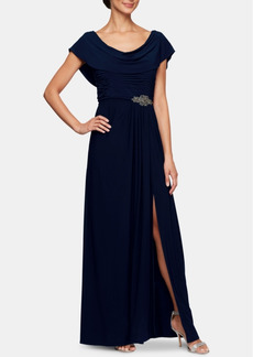 Alex Evenings Embellished-Waist Cowlneck Gown