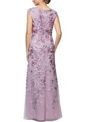 Alex Evenings Embroidered A-Line Gown (Regular & Petite)
