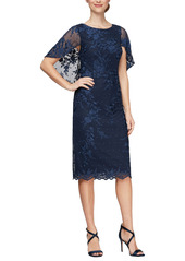 Alex Evenings Embroidered Illusion Capelet Sleeve Sheath Dress