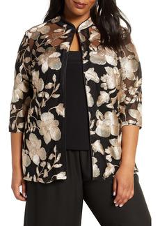 Alex Evenings Embroidered Jacket & Camisole Set (Plus Size)