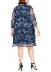 Alex Evenings Embroidered Lace Mock Jacket Cocktail Dress (Plus Size)