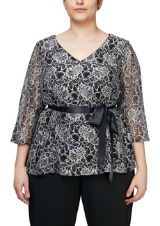 Alex Evenings Embroidered Peplum Blouse (Plus Size)