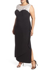 Alex Evenings Embroidered Side Ruched Gown (Plus Size)