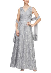 Alex Evenings Embroidered Sleeveless Gown with Shawl