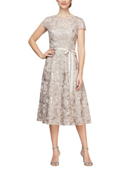 Alex Evenings Embroidered Tulle Cocktail Dress