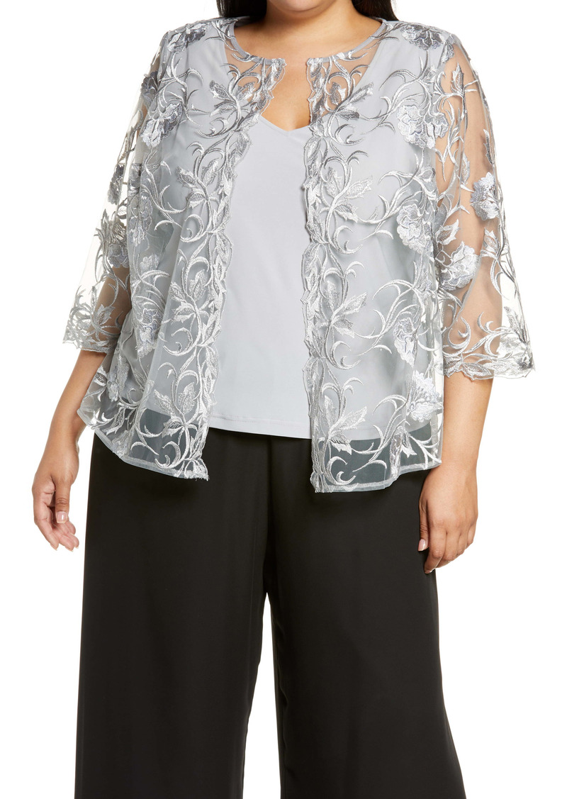 Alex Evenings Embroidered Twinset (Plus Size)
