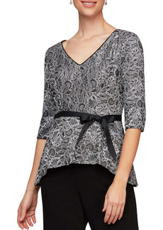 Alex Evenings Embroidered V-Neck Peplum Blouse