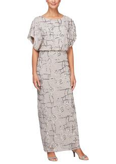 Alex Evenings Floral Blouson Column Dress