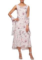 Alex Evenings Floral Burnout High/Low Chiffon Dress with Wrap