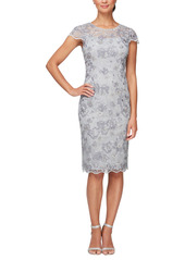 Alex Evenings Floral Embroidered Cocktail Sheath Dress