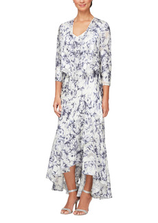 Alex Evenings Floral Print Chiffon Gown with Jacket