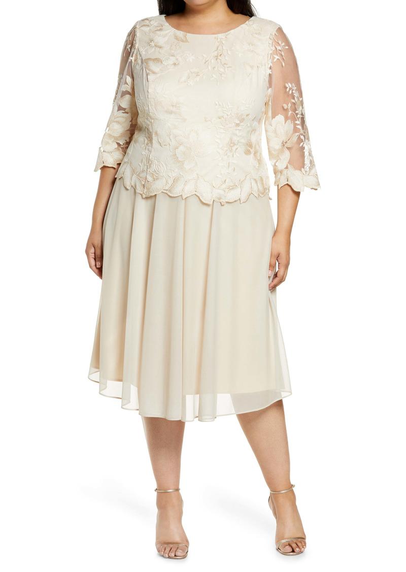 Alex Evenings Illusion Sleeve Embroidered Midi Dress (Plus Size)
