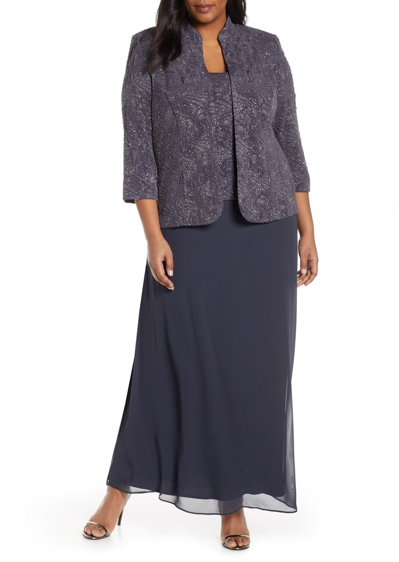 Alex Evenings Mock Two-Piece Gown with Jacket (Plus Size)
