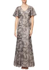 Alex Evenings Lace & Sequin Fit & Flare Gown