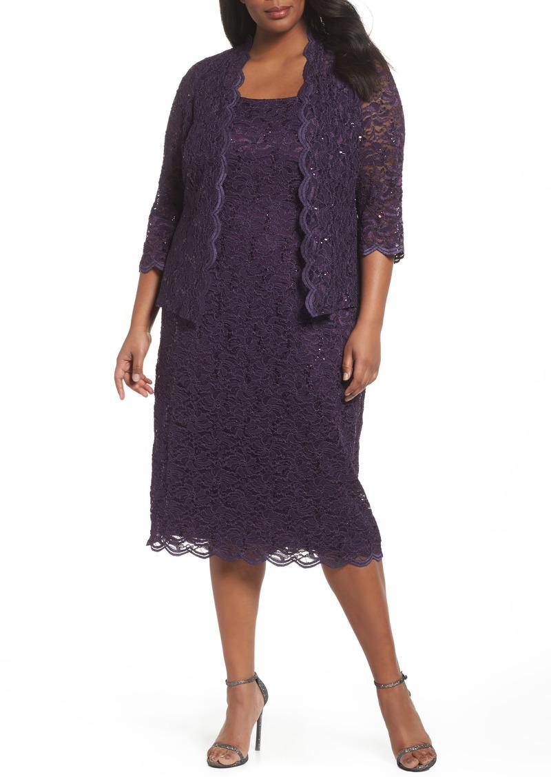 Alex Evenings Lace Cocktail Dress with Jacket (Plus Size)