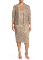 Alex Evenings Lace Cocktail Dress with Jacket (Plus Size)