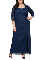 Alex Evenings Lace Yoke & Sleeves Ruched Gown (Plus Size)