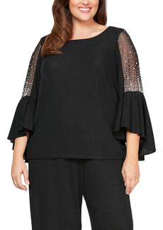 Alex Evenings Metallic Beaded Sleeve Blouse (Plus Size)