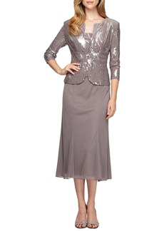 Alex Evenings Sequin Midi Dress with Jacket (Regular & Petite)