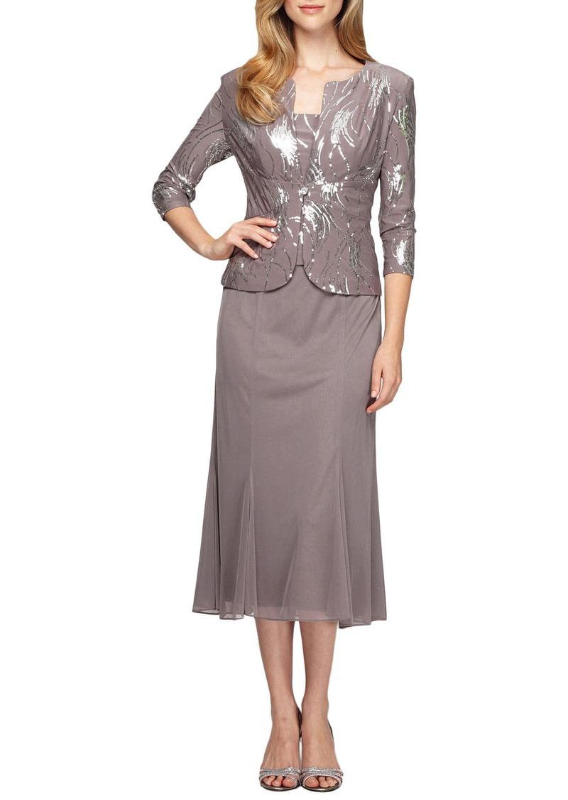 Alex Evenings Sequin Midi Dress with Jacket (Regular & Petite)