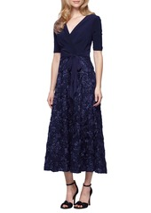 Alex Evenings Mixed Media Midi Dress